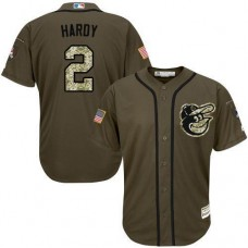 Baltimore Orioles #2 J.J. Hardy Olive Camo Jersey