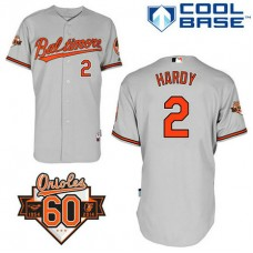 Baltimore Orioles #2 J.J. Hardy Authentic Grey Away Cool Base Jersey