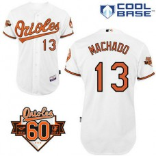 YOUTH Baltimore Orioles #13 Manny MachadoAuthentic White Home Cool Base Jersey