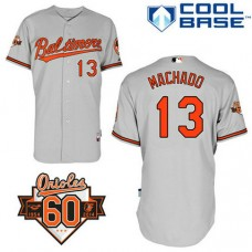 YOUTH Baltimore Orioles #13 Manny MachadoAuthentic Grey Away Cool Base Jersey