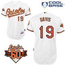 YOUTH Baltimore Orioles #19 Chris DavisAuthentic White Home Cool Base Jersey