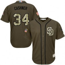 San Diego Padres #34 Andrew Cashner Olive Camo Jersey