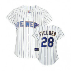 Women - Milwaukee Brewers #28 Prince Fielder White(Blue Strip)Fashion Jersey