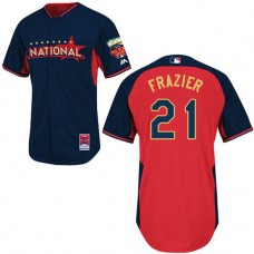 Cincinnati Reds #21 Todd Frazier Authentic Navy/Red National League 2014 All Star BP Jersey