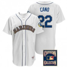 Robinson Cano #22 Seattle Mariners White Throwback Griffey Retirement Patch Jersey