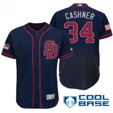 San Diego Padres #34 Andrew Cashner Navy Stars & Stripes 2016 Independence Day Cool Base Jersey