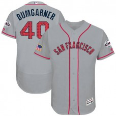 Madison Bumgarner #40 San Francisco Giants 2017 Stars & Stripes Independence Day Grey Flex Base Jersey