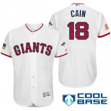 San Francisco Giants #18 Matt Cain White Stars & Stripes 2016 Independence Day Cool Base Jersey