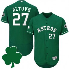 Houston Astros #27 Jose Altuve St. Patricks Day Green Celtic Flexbase Authentic Collection Jersey