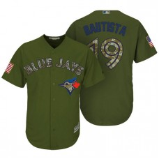 Toronto Blue Jays #19 Jose Bautista Camo Olive Salute Official Cool Base Jersey