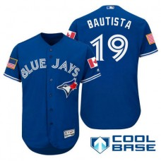 Toronto Blue Jays #19 Jose Bautista Blue Stars & Stripes 2016 Independence Day Cool Base Jersey
