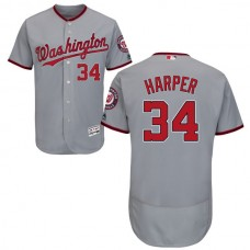 Washington Nationals Bryce Harper #34 Grey Flexbase Authentic Collection Jersey