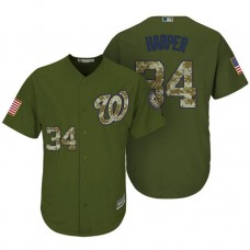 Washington Nationals #34 Bryce Harper Camo Olive Salute Official Cool Base Jersey