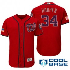 Washington Nationals #34 Bryce Harper Red Stars & Stripes 2016 Independence Day Cool Base Jersey