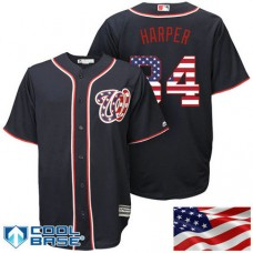 Washington Nationals #34 Bryce Harper Navy Stars & Stripes Official Cool Base Jersey
