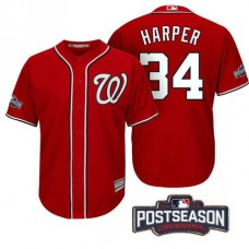 Washington Nationals Bryce Harper #34 NL East Division Champions Red 2016 Postseason Patch Cool Base Jersey