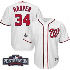 Washington Nationals Bryce Harper #34 NL East Division Champions White 2016 Postseason Patch Cool Base Jersey