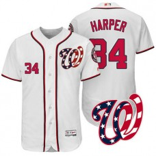 Washington Nationals Bryce Harper #34 White 2017 Home Authentic Collection Flex Base Jersey