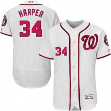 Washington Nationals Bryce Harper #34 White Authentic Collection Flexbase Jersey