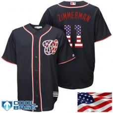 Washington Nationals #11 Ryan Zimmerman Navy Stars & Stripes Official Cool Base Jersey