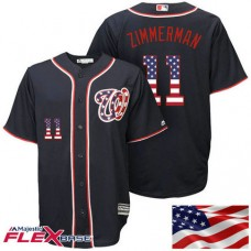 Washington Nationals #11 Ryan Zimmerman Navy Stars & Stripes Authentic Collection Flexbase Jersey
