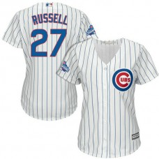 Women - Chicago Cubs Addison Russell #27 White 2016 World Series Champions Team Logo Patch Cool Base Jersey