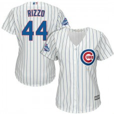 Women - Chicago Cubs Anthony Rizzo #44 White 2016 World Series Champions Team Logo Patch Cool Base Jersey