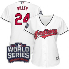 Women - Cleveland Indians Andrew Miller #24 White 2016 World Series Bound Cool Base Jersey
