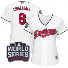 Women - Cleveland Indians Lonnie Chisenhall #8 White 2016 World Series Bound Cool Base Jersey