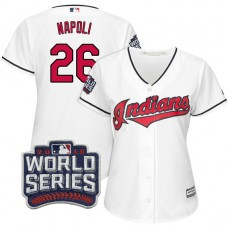 Women - Cleveland Indians Mike Napoli #26 White 2016 World Series Bound Cool Base Jersey