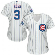 Women - Chicago Cubs David Ross #3 White 2016 World Series Champions Team Logo Patch Cool Base Jersey