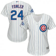 Women - Chicago Cubs Dexter Fowler #24 White 2016 World Series Champions Team Logo Patch Cool Base Jersey