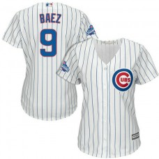 Women - Chicago Cubs Javier Baez #9 White 2016 World Series Champions Team Logo Patch Cool Base Jersey