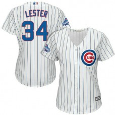 Women - Chicago Cubs Jon Lester #34 White 2016 World Series Champions Team Logo Patch Cool Base Jersey