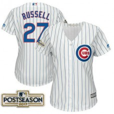 Women - Addison Russell #27 Chicago Cubs 2017 Postseason White Cool Base Jersey