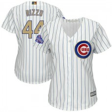 Women - Chicago Cubs #44 Anthony Rizzo 2017 Gold Program Player White Cool Base Jersey