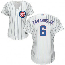Women - Chicago Cubs #6 Carl Edwards Jr Home White Cool Base Jersey