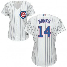 Women - Ernie Banks #14 Chicago Cubs Authentic Home White Cool Base Jersey