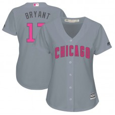 Women - 2017 Mother's Day Chicago Cubs #17 Kris Bryant Grey Cool Base Jersey