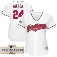 Women - Andrew Miller #24 Cleveland Indians 2017 Postseason White Cool Base Jersey