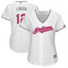 Women - 2017 Mother's Day Cleveland Indians #12 Francisco Lindor White Cool Base Jersey
