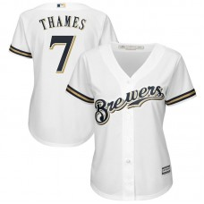 Women - Milwaukee Brewers #7 Eric Thames Home White Cool Base Jersey