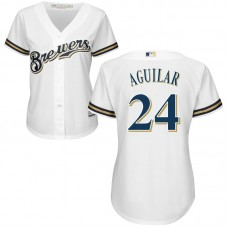 Women - Milwaukee Brewers #24 Jesus Aguilar Home White Cool Base Jersey