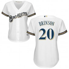 Women - Lewis Brinson #20 Milwaukee Brewers Home White Cool Base Jersey