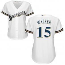 Women - Neil Walker #15 Milwaukee Brewers Home White Cool Base Jersey