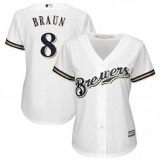 Women - Milwaukee Brewers #8 Ryan Braun Replica Alternate White Cool Base Jersey