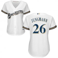 Women - Milwaukee Brewers Taylor Jungmann #26 White Authentic Cool base Jersey