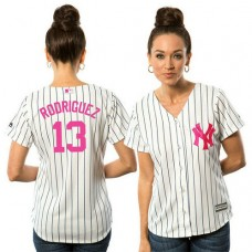 Women - 2017 Mother's Day New York Yankees #13 Alex Rodriguez White Cool Base Jersey