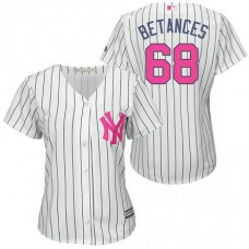 Women - New York Yankees #68 Dellin Betances White Home 2016 Mother's Day Cool Base Jersey