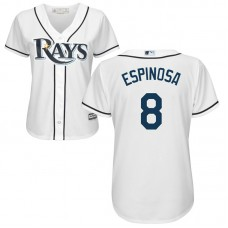 Women - Danny Espinosa #8 Tampa Bay Rays Home White Cool Base Jersey